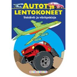 Autot ja lentokoneet värityskirja
