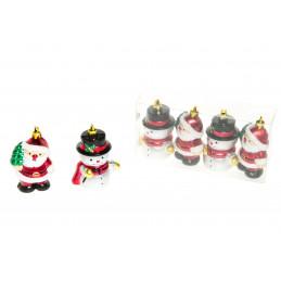 Kuusenkoriste Joulupukki ja Lumiukko