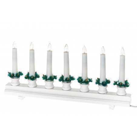 Kynttelikkö suora 7-lampun valkoinen