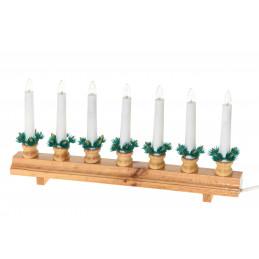 Kynttelikkö suora 7-lampun puunvärinen