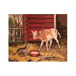 Kissa ja vasikka -kanavatyö 40x50 cm